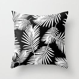 Tropical Palm Leaves Black And White Minimalistic Pattern Throw Pillow