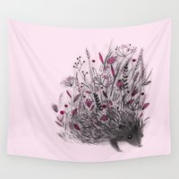 hedgehog Wall Tapestries featuring Hedgehog by Linette No