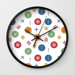 Dots and stripes pattern Wall Clock
