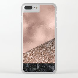 Rose gold fancy marble mix Clear iPhone Case