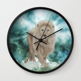 Awesome white lion in the sky Wall Clock
