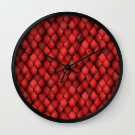 Red Dragon Scales Wall Clock