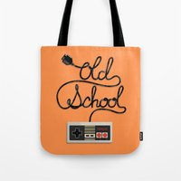 old school Tote Bags featuring old school by paul nunez