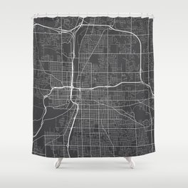 Grand Rapids Map, USA - Gray Shower Curtain