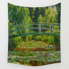 Claude Monet Impressionist Landscape Oil Painting-The Japanese Footbridge and the Water Lily Pool Wall Tapestry