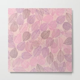 LEAVES ENSEMBLE PINK Metal Print