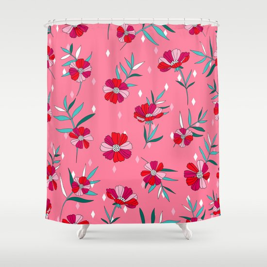 Pink Summer Shower Curtain