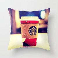 starbucks Throw Pillows featuring Starbucks  by Jo Bekah Photography