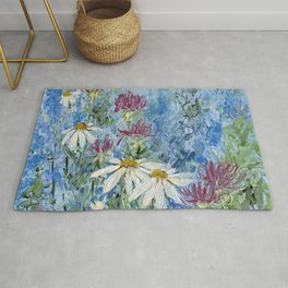 Wildflower Blues Garden Flower Acrylic Art Rug