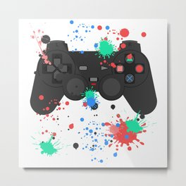 Controller Graffitti PS Metal Print