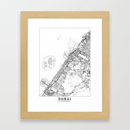 Dubai White Map Framed Art Print
