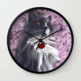 Fluffy Grey Kitty Wall Clock