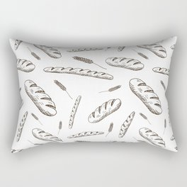 Bread print. Hand-drawn bread baguettes on white background. Rectangular Pillow