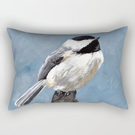 Chickadee Original Acrylic Art on Canvas,Bird Painting, Chickadee Wall Art, Bird on a Branch Rectangular Pillow