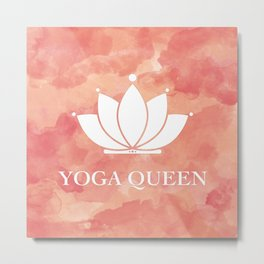 Yoga Queen  - Living Coral Watercolor Metal Print
