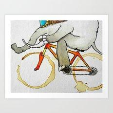 Elephant on a Bike Art Print