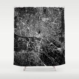 Hamburg Black Map Shower Curtain