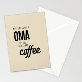 Womens Never Mess With Oma Before She Has Her Coffee Grandma Gift Stationery Cards