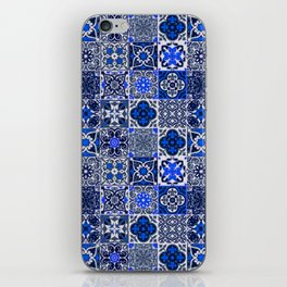 -A34- Blue Traditional Floral Moroccan Tiles. iPhone Skin