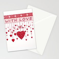 Red hearts on a white background.Love , Valentine's day Stationery Cards