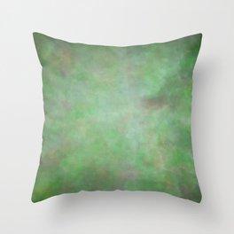 Abstract Watercolor Blend 3 Deep Dark Green and Light Green Throw Pillow