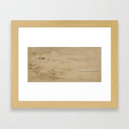 Japanese Edo Period Landscape Scroll of Mount Fuji - Kano Tanyu Framed Art Print