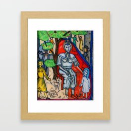 Beggar with child and dog Framed Art Print