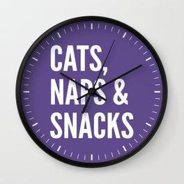 Cats, Naps & Snacks (Ultra Violet) Wall Clock