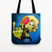 rock n roll Tote Bags featuring Rock n' Roll Skull by Vida Graffiti