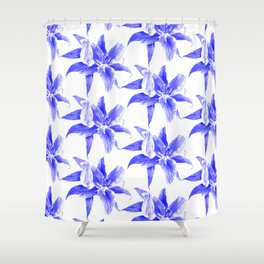 blue lily pattern Shower Curtain