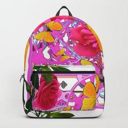 PINK ROSE FLOWERS  &  GOLDEN BUTTERFLIES GARDEN ART Backpack