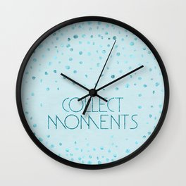 Text Art COLLECT MOMENTS | glittering turquoise Wall Clock