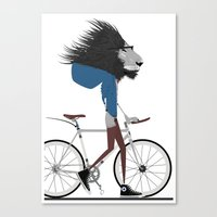 hipster lion Canvas Prints featuring Hipster Lion and his Bicycle by WyattDesign