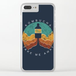 """KOMBUCHA """"Take Me Away"""" Rocket // Mushroom Tea Graphic Design Scoby Health Drink Bubble Scooby Clear iPhone Case"""