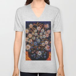 Still Life - Zinnia and Daisies - Flowers in Vase by Seraphine Louis Unisex V-Neck