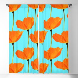 Poppies On A Turquoise Background #decor #society6 #buyart Blackout Curtain