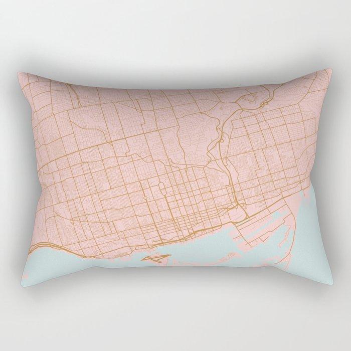Pink and gold Toronto map, Canada Rectangular Pillow
