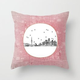 Beijing, China City Skyline Illustration Drawing Throw Pillow
