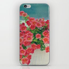 Painterly Summer Floral Coral Red Million Bells in Beachy Window Box iPhone Skin