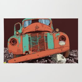 Art print: The old vintage car and the wolf skull Rug