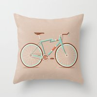 bicycle Throw Pillows featuring Bicycle by Daniel Mackey