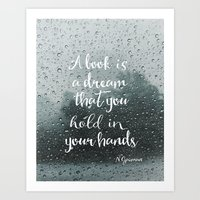 neil gaiman Art Prints featuring Neil Gaiman quote Rain by Good vibes and coffee