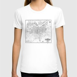 Vintage Map of Louisville Kentucky (1873) BW T-shirt