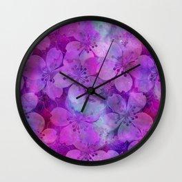 Fancy Floral watercolor pattern pink Wall Clock