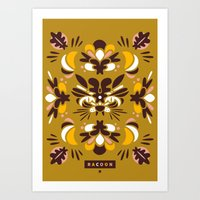 racoon Art Prints featuring Racoon by Typozon