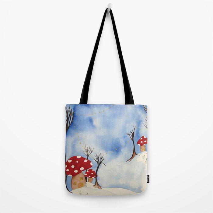 Mushroom Houses in Winter by Twelve Little Tales Tote Bag