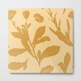 Block Print Marigold Floral in Flax Yellow Metal Print