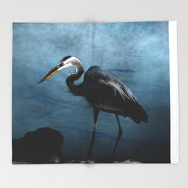 Great Blue On The Rocks Throw Blanket