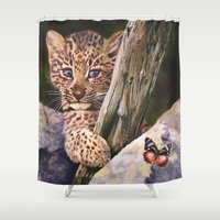 wild things Shower Curtains featuring Leopard Baby Wild Things by Moody Muse