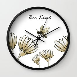 Bee kind buzzy bumble bee with flowers Wall Clock